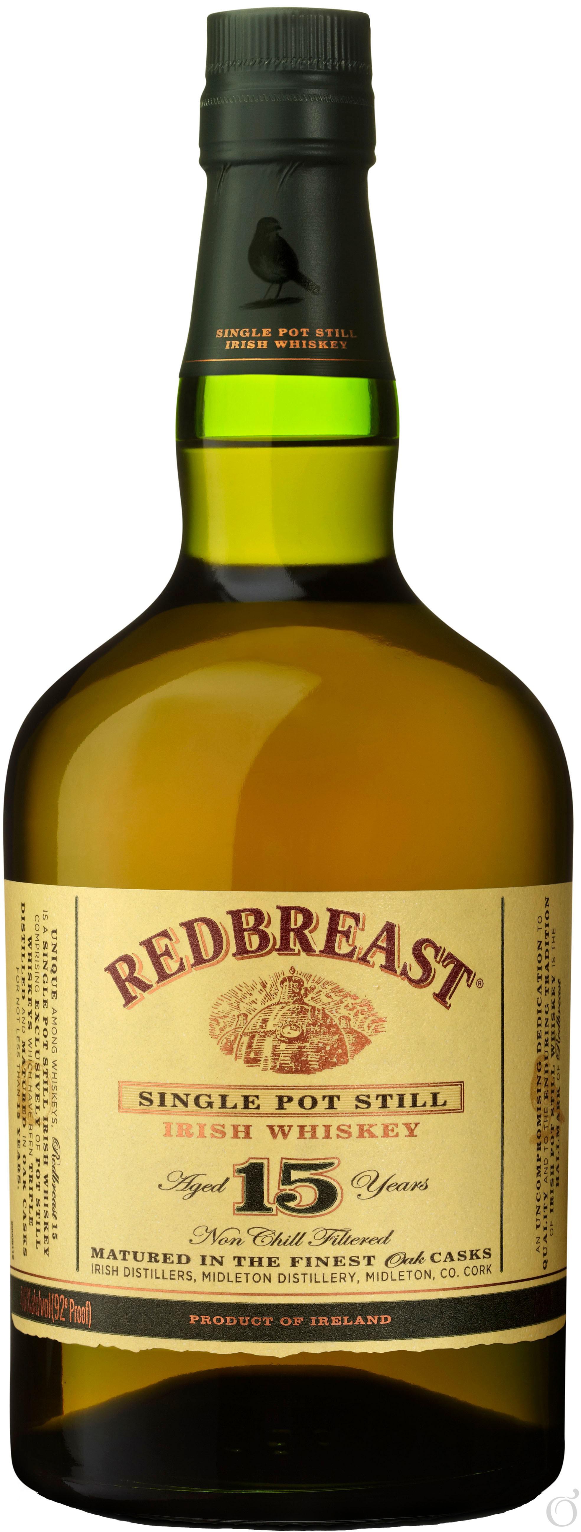 Redbreast Whiskey 15 Years Old Single Pot Still Irish Whiskey