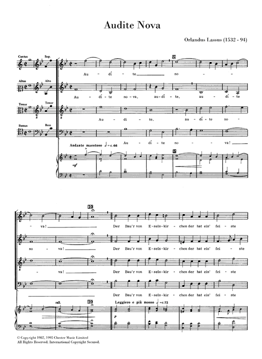 Audite Nova Sheet Music