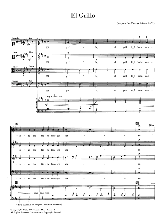 Partition chorale El Grillo de  - SATB