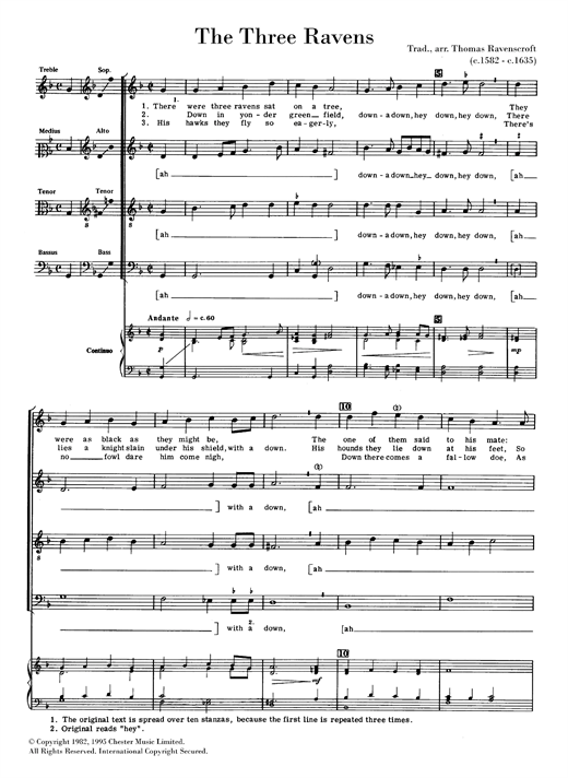 The Three Ravens Sheet Music