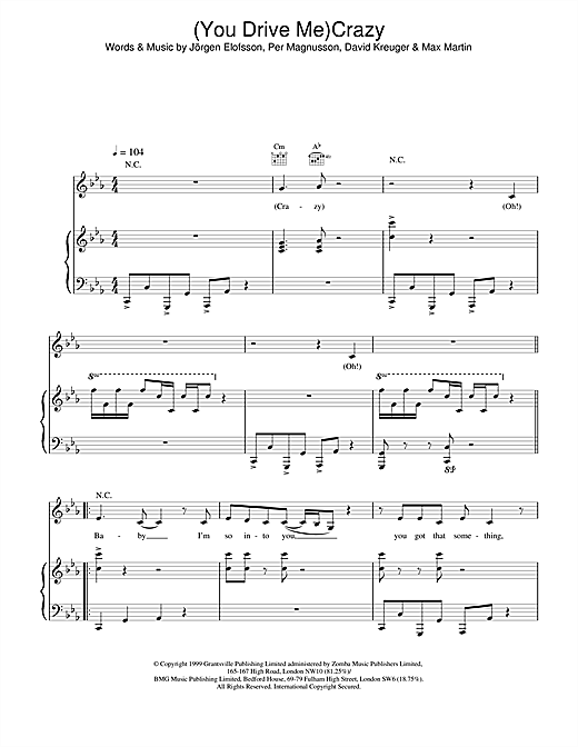 (You Drive Me) Crazy Sheet Music