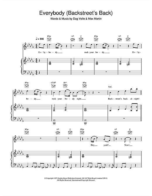 Partition piano Everybody (Backstreet's Back) de Backstreet Boys - Piano Voix Guitare