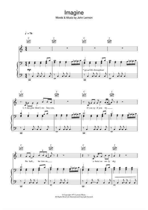 Imagine sheet music by John Lennon (Piano, Vocal & Guitar (Right ...