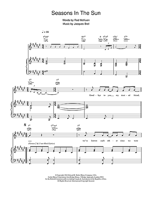 Seasons In The Sun Sheet Music