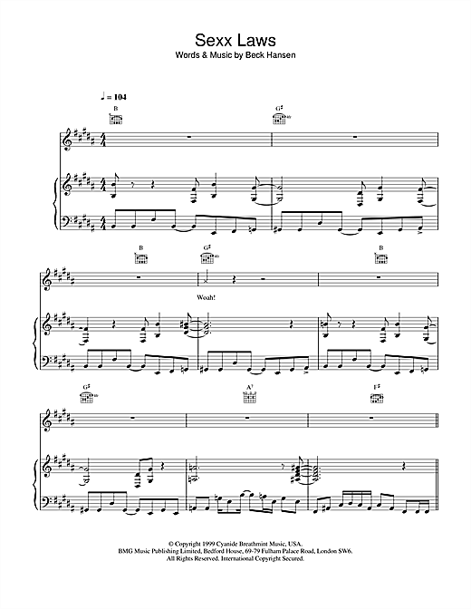 Sexx laws Sheet Music