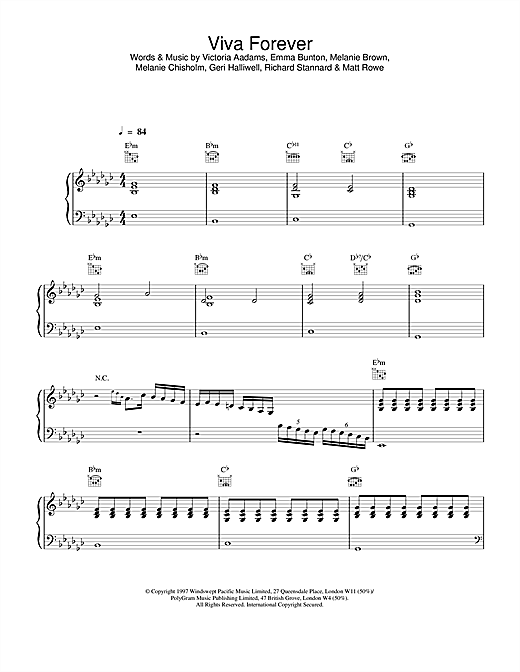 Viva Forever (Piano, Vocal & Guitar (Right-Hand Melody))