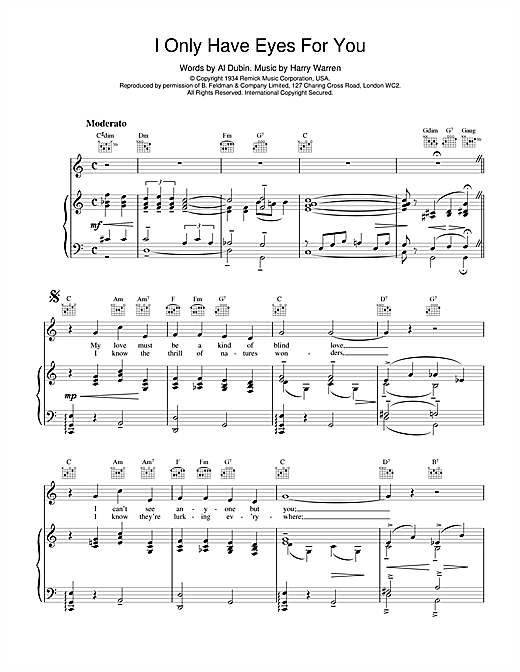 I Only Have Eyes For You Sheet Music By Art Garfunkel Piano Vocal