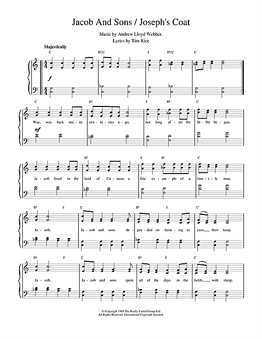 Jacob And Sons / Joseph's Coat (from Joseph And The Amazing Technicolor Dreamcoat) Sheet Music