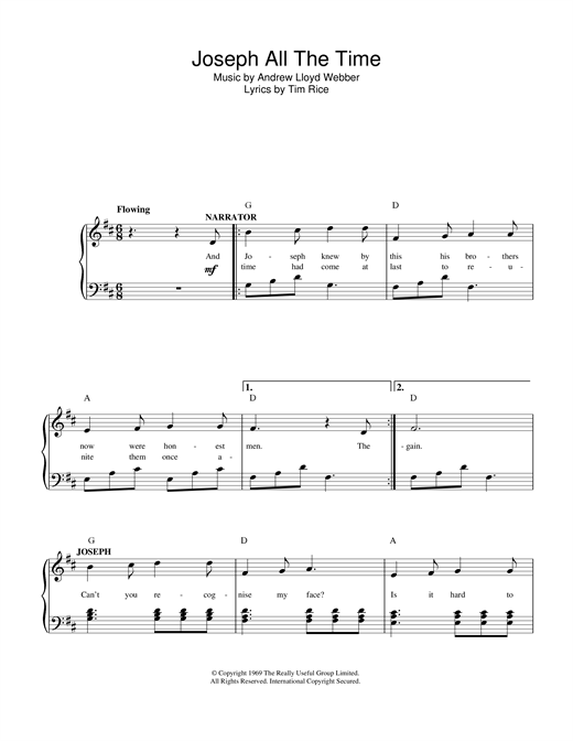 Joseph All The Time (from Joseph And The Amazing Technicolor Dreamcoat) Sheet Music
