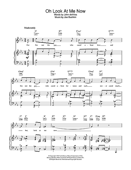 Oh Look At Me Now Sheet Music