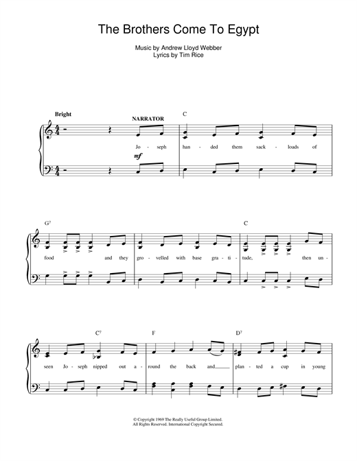 The Brothers Come To Egypt (from Joseph And The Amazing Technicolor Dreamcoat) Sheet Music