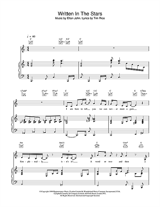 Written In The Stars (from Aida) Sheet Music