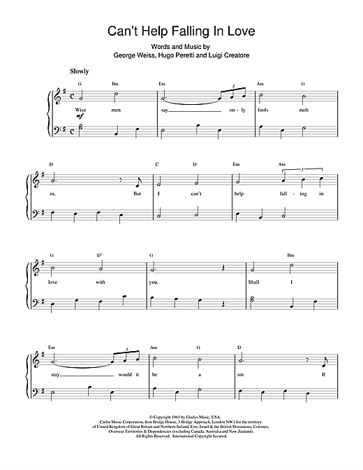 Cant Help Falling In Love Sheet Music By Ub40 Piano Vocal