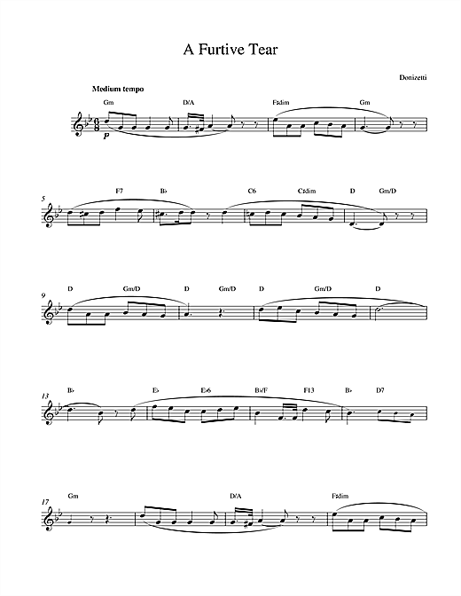A Furtive Tear Sheet Music