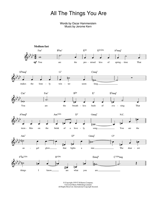 All The Things You Are (Lead Sheet / Fake Book)