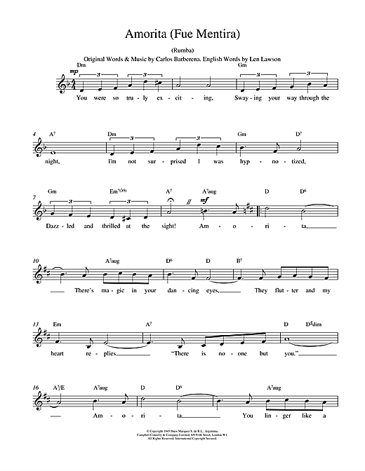 Amorita (Fue Mentira) (Lead Sheet / Fake Book)