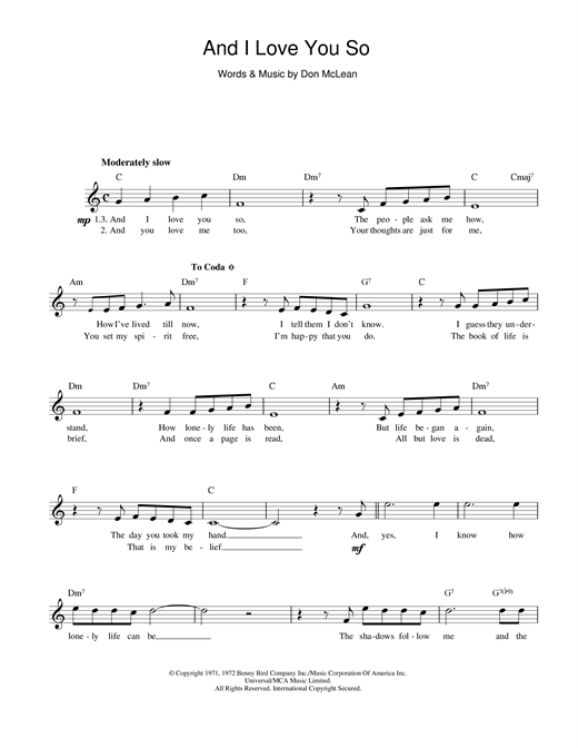 And I Love You So (Lead Sheet / Fake Book)