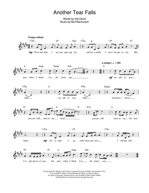 Another Tear Falls Sheet Music