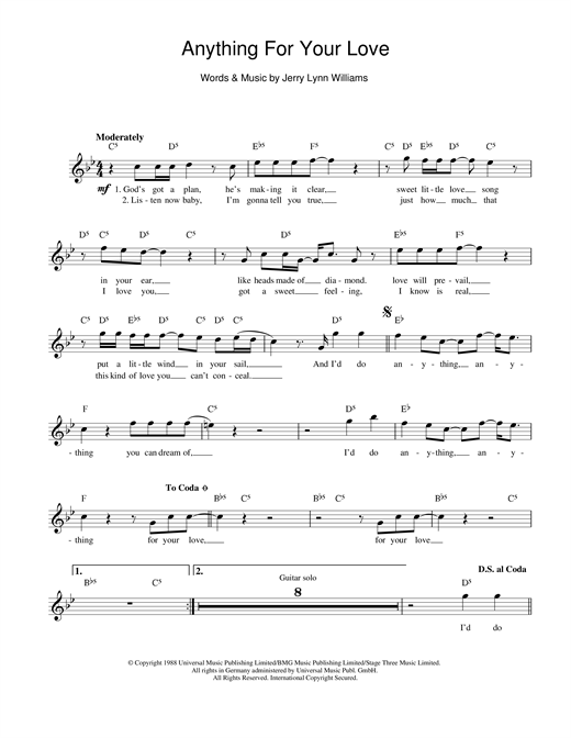 Anything For Your Love (Lead Sheet / Fake Book)