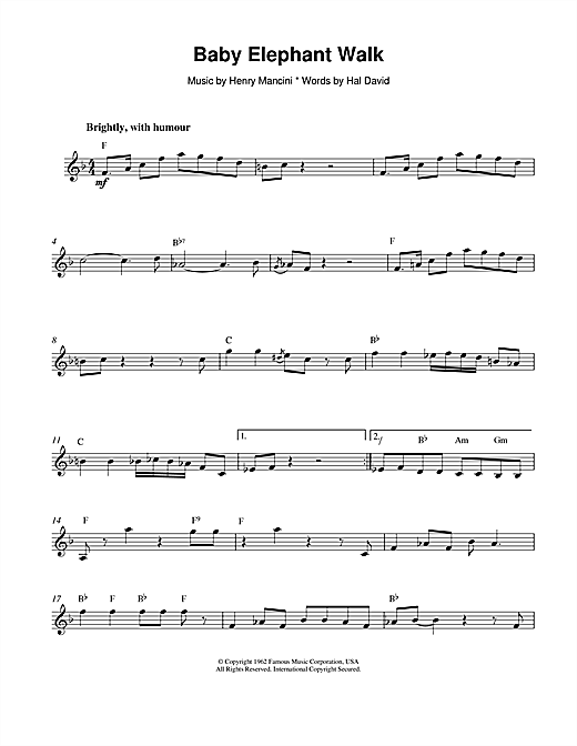 Baby Elephant Walk Sheet Music
