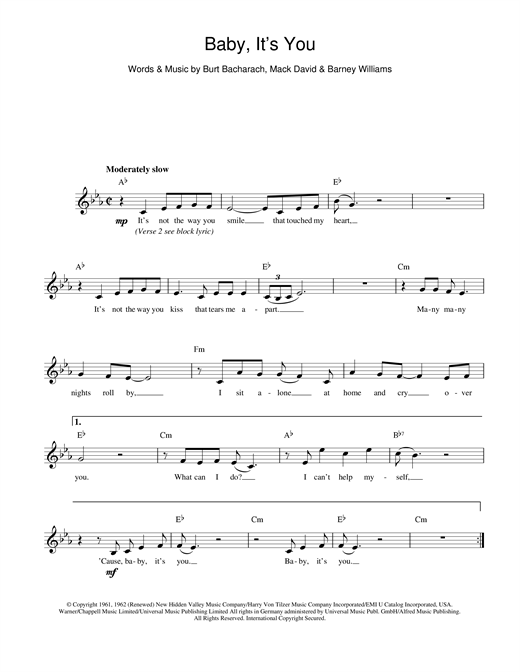 Baby It's You (Melody Line, Lyrics & Chords)