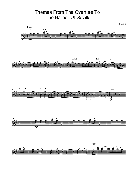 The Barber Of Seville Overture (Lead Sheet / Fake Book)