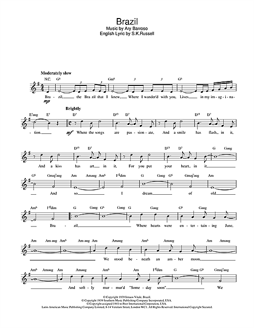 Brazil (Lead Sheet / Fake Book)