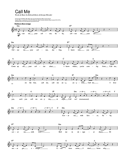 Call Me (Lead Sheet / Fake Book)