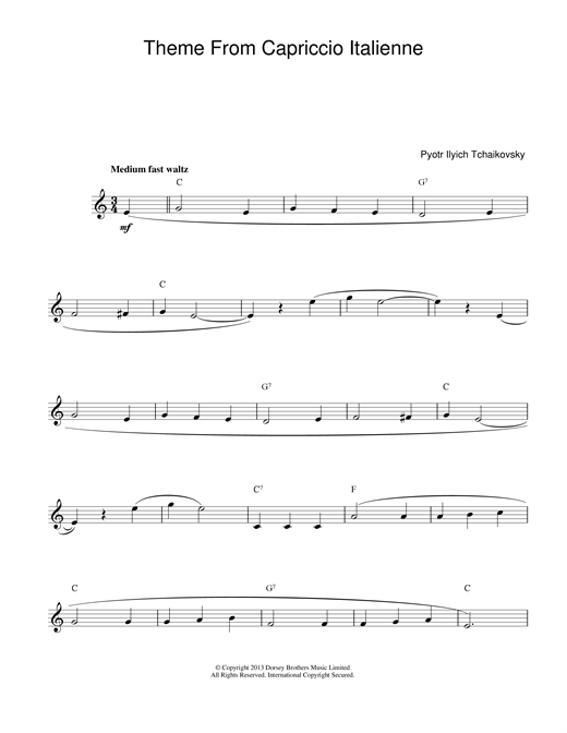 Capriccio Italienne (Lead Sheet / Fake Book)