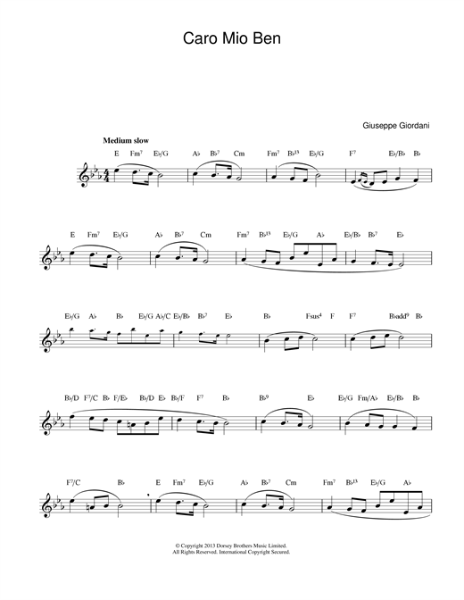 Caro Mio Ben (Lead Sheet / Fake Book)