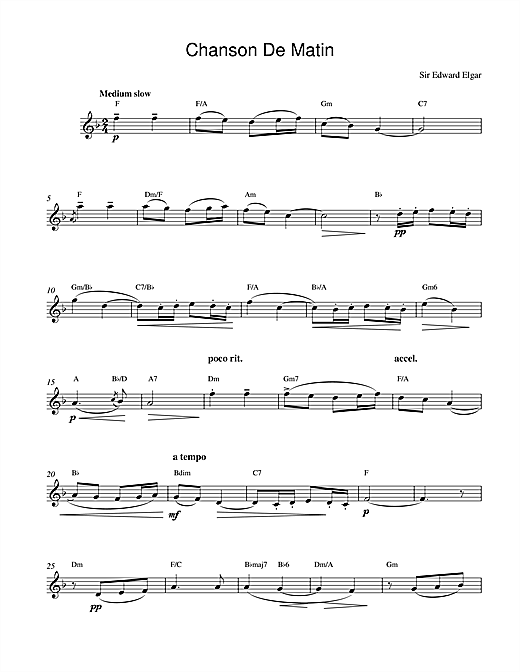 Chanson De Matin Opus 15, No. 2 (Lead Sheet / Fake Book)