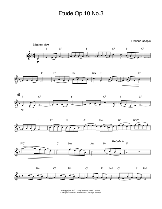 Etude in E Major, Op.10, No.3 (Tristesse) Sheet Music