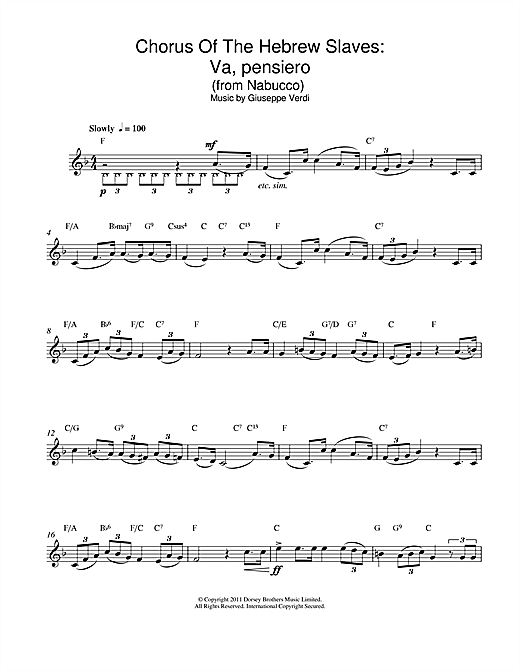Va, Pensiero (Chorus Of The Hebrew Slaves) (from Nabucco) Sheet Music