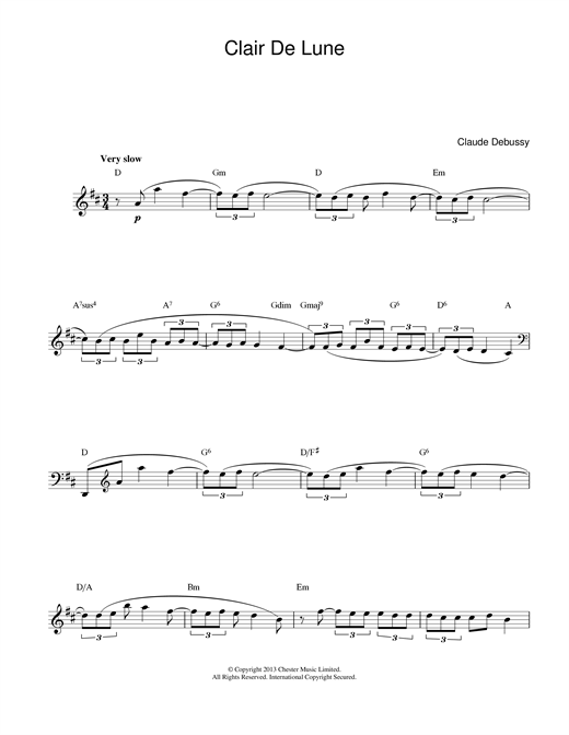 Clair De Lune (Lead Sheet / Fake Book)