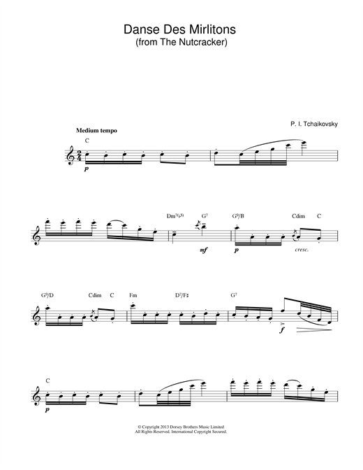 Danse Des Mirlitons (from The Nutcracker) (Lead Sheet / Fake Book)