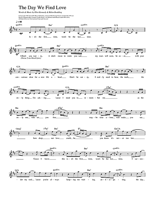 The Day We Find Love (Lead Sheet / Fake Book)
