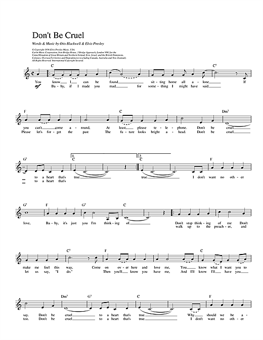 Don't Be Cruel (Lead Sheet / Fake Book)