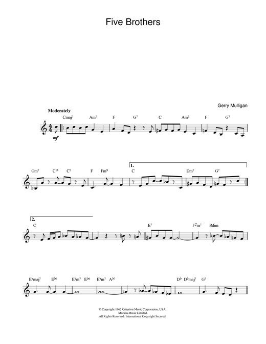 Five Brothers (Lead Sheet / Fake Book)