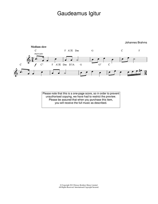 Gaudeamus Igitur (Lead Sheet / Fake Book)