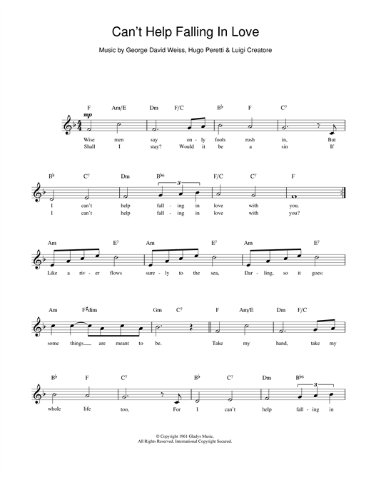 Cant Help Falling In Love Chords By Ub40 Melody Line Lyrics