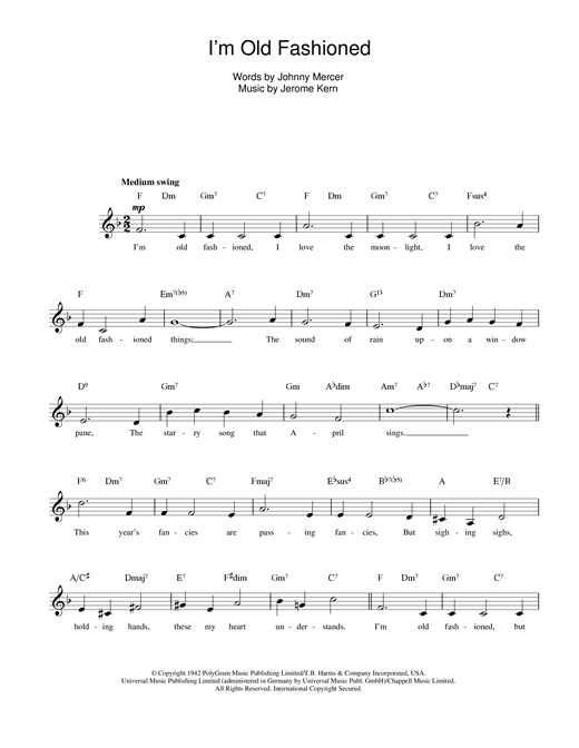 I'm Old Fashioned Sheet Music