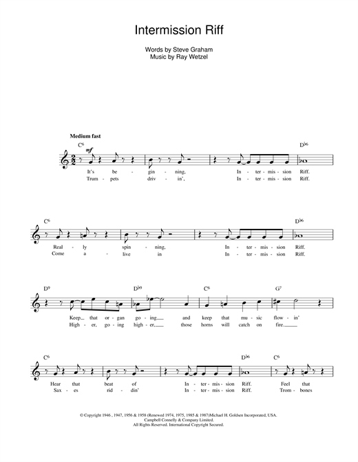 Intermission Riff Sheet Music