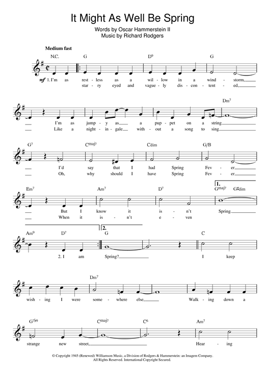 It Might As Well Be Spring (from State Fair) Sheet Music