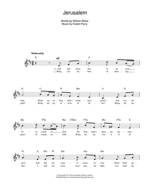 Jerusalem Sheet Music