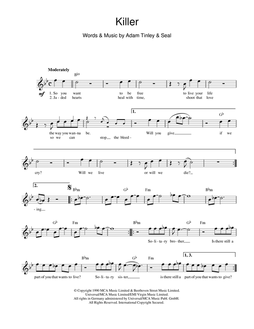 Killer (Lead Sheet / Fake Book)