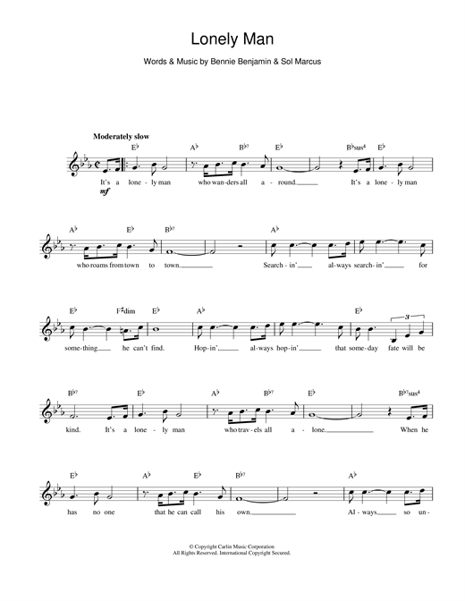 Lonely Man (Lead Sheet / Fake Book)