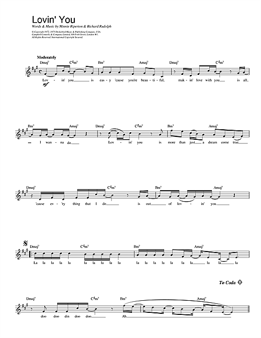 Lovin' You (Lead Sheet / Fake Book)