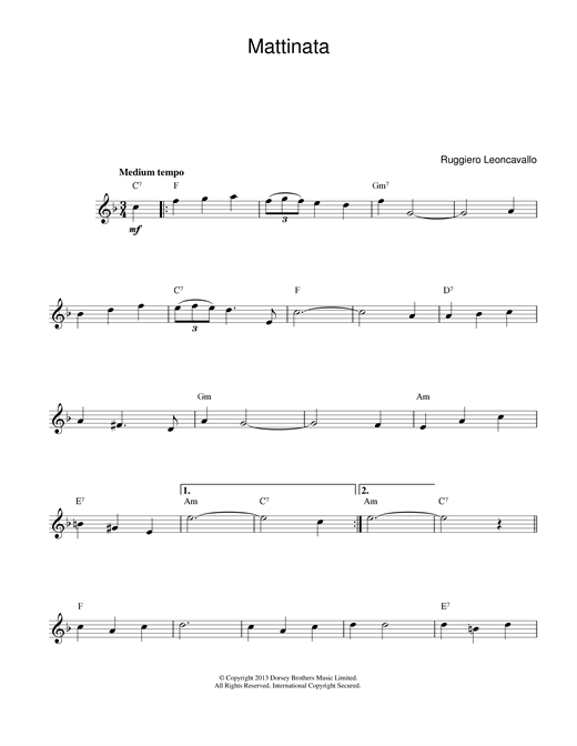 Mattinata (Lead Sheet / Fake Book)