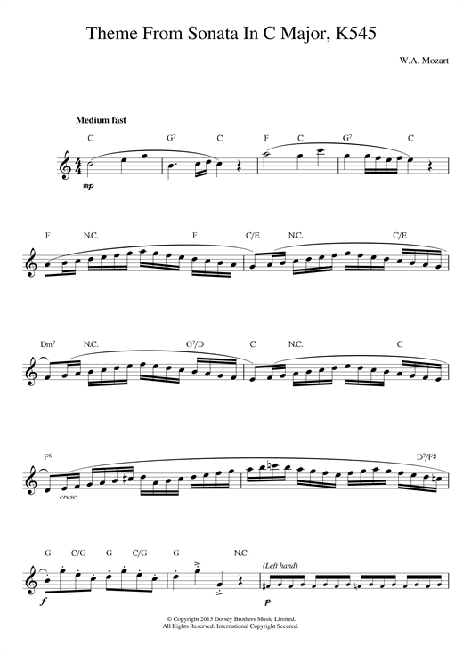 Sonata in C Major, K. 545, 1st Movement Sheet Music