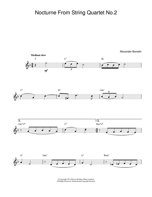 Nocturne From String Quartet No.2 (Lead Sheet / Fake Book)